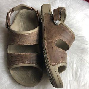 Euc Leather Crocs Velcro Sandals 12